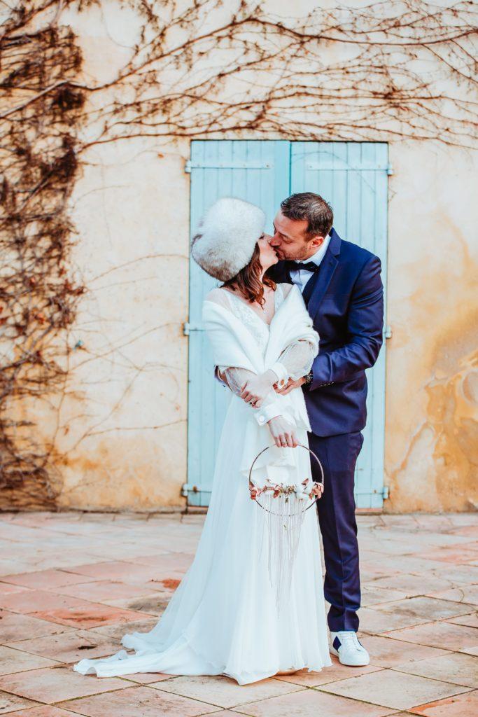 photos de couple hiver mariage