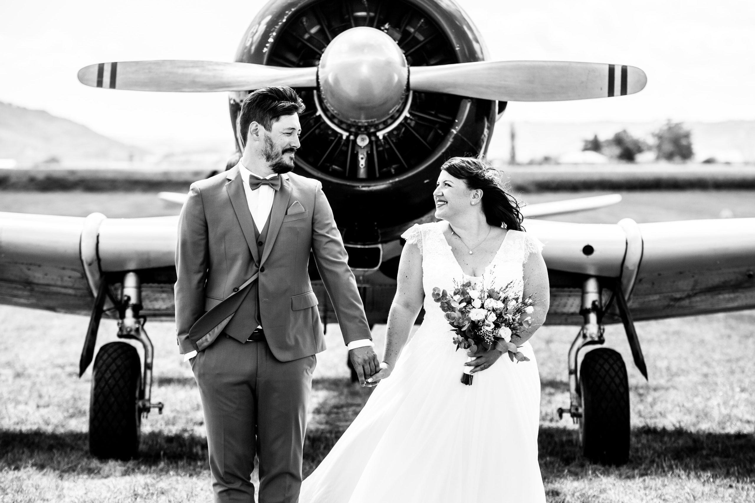 mariage avion couple